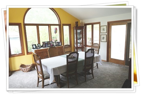 A picture of a dining room carpetted by Carpet Warehouse Outlet