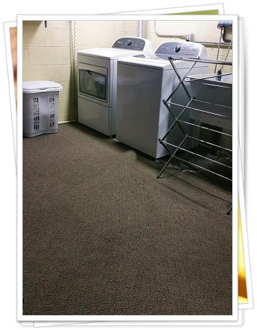 A picture of a laundry area carpetted by Carpet Warehouse
