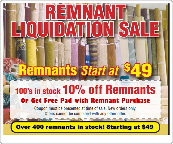 remnant sale at Carpet Warehouse