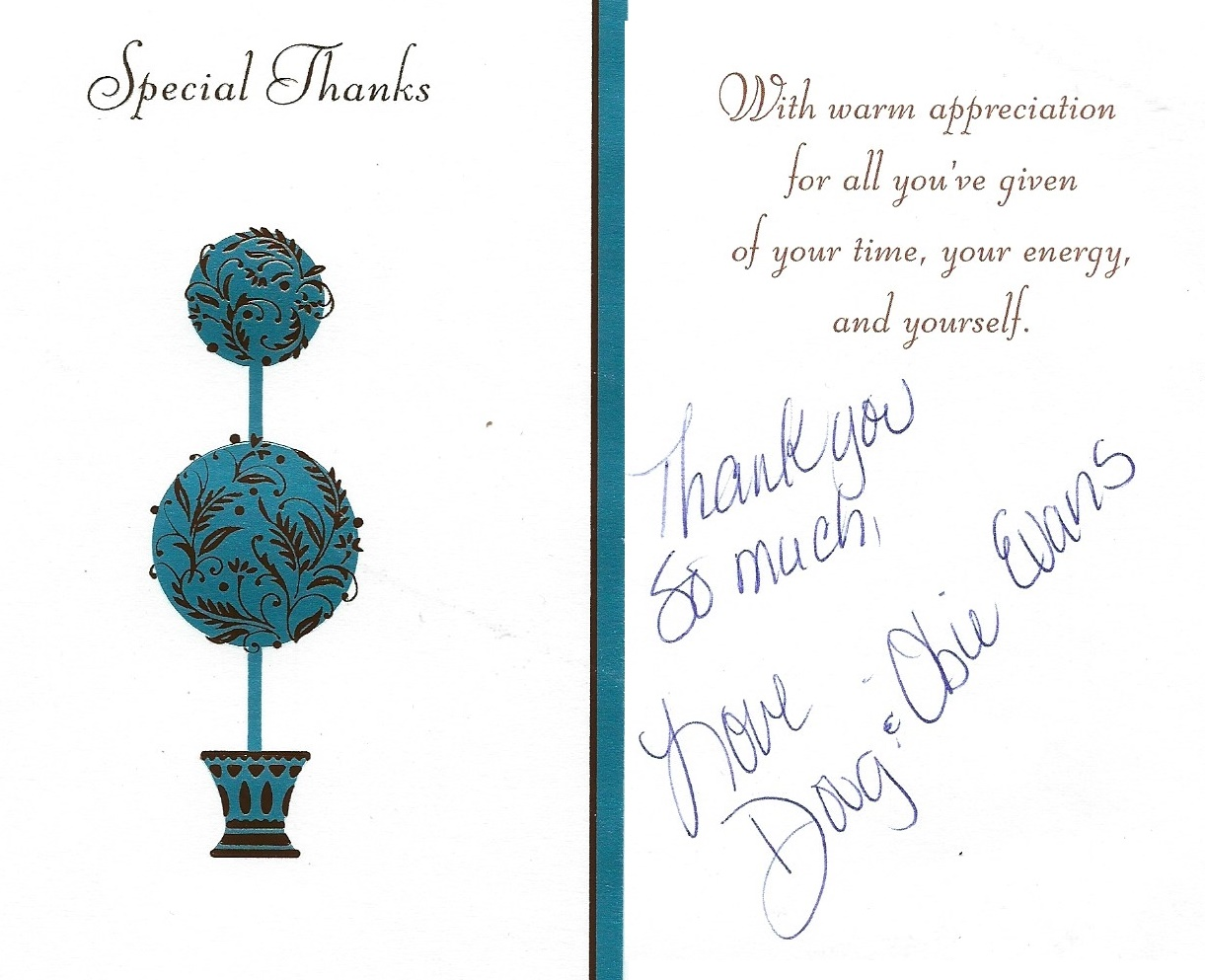 A thank you card from a satisfied customer