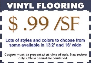 coupon for sheet vinyl starting at 99cent a sf